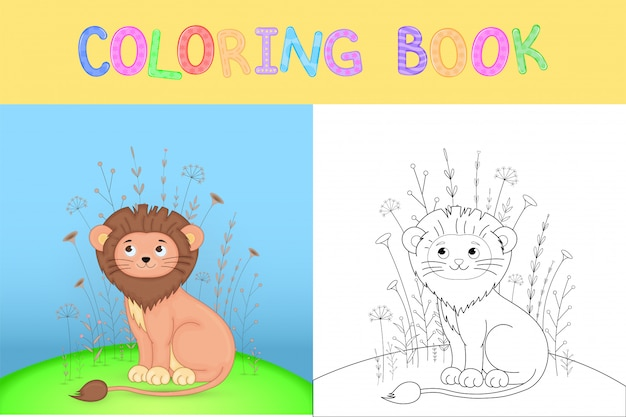 Children's coloring book with cartoon animals