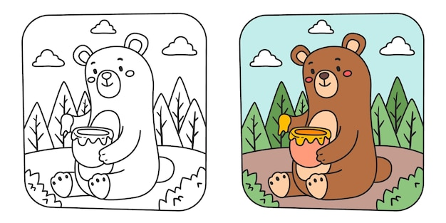Children's coloring illustration with bear