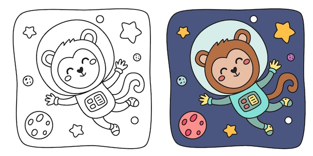 Children's coloring illustration with monkey