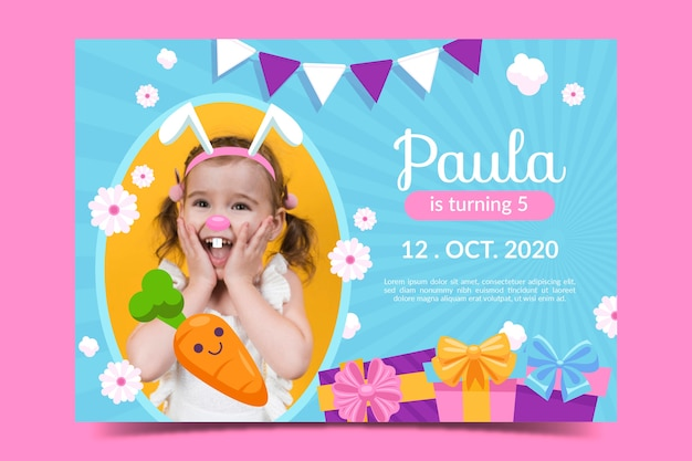 Children's cute birthday card template with photo