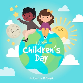 Children's day background hand drawn style