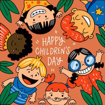 Children's day background in hand drawn style