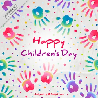 Children's day background of paint handprints