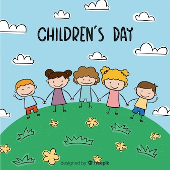 Children's day cartoon hill background
