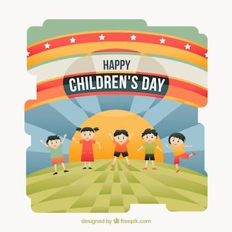 Детский день празднования абстрактного фона