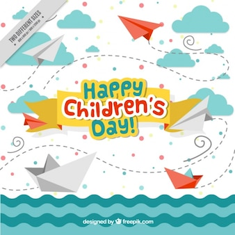 Children's day enjoyable background of sea with boats and origami airplanes