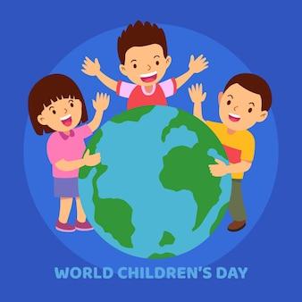 Детский день событие плоский дизайн