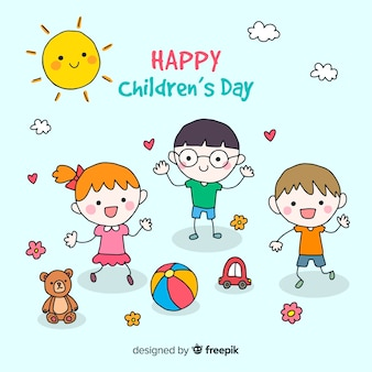 Children's day happy friends background