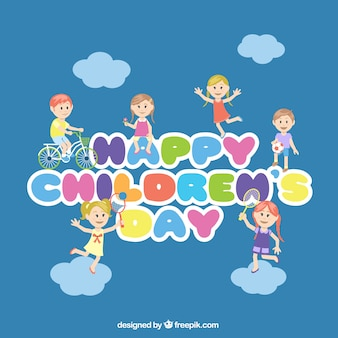 Children's day lettering in colorful style