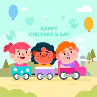 Children's day with kids playing outside in a toy train