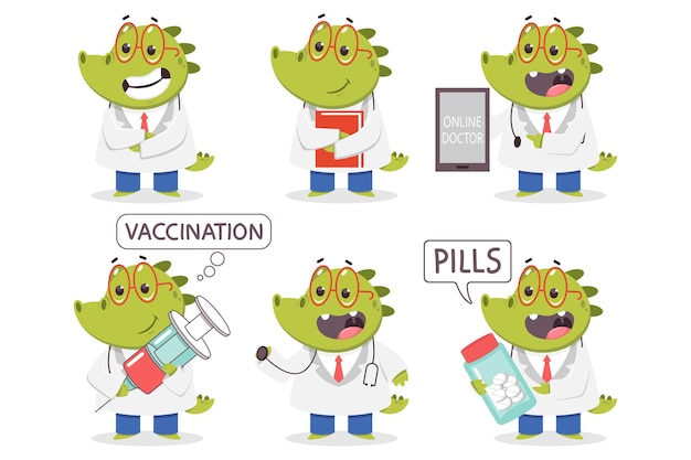 Children's doctor crocodile  cartoon funny medical characters set isolated on a white background.