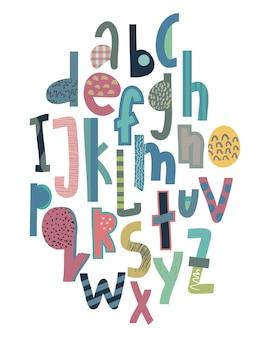 여러 가지 빛깔의 밝은 재미있는 편지의 창조적 인 추상 스타일 세트의 어린이 글꼴