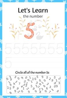 어린이 게임은 숫자 5를 배웁니다. 만화 스타일입니다. 벡터 일러스트 레이 션.