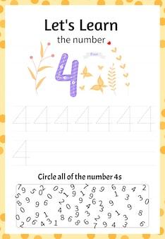 어린이 게임은 숫자 4를 배우자. 만화 스타일. 삽화.