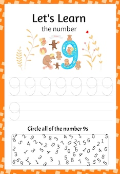 어린이 게임은 숫자 9를 배워봅시다. 만화 스타일입니다. 벡터 일러스트 레이 션.
