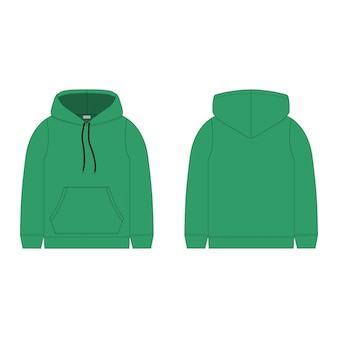 Children's hoodie in green color isolated  . technical sketch hoody kids clothes.