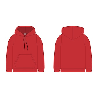 Children's hoodie in red color isolated  .