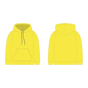 Children's hoodie in yellow color isolated  . technical sketch hoody kids clothes.