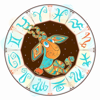 Children s horoscope icon. zodiac for kids. capricorn sign