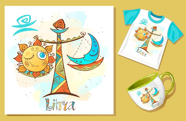 Children's horoscope icon. zodiac for kids. libra sign