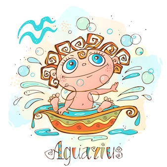 Children's horoscope illustration. zodiac for kids. aquarius sign .