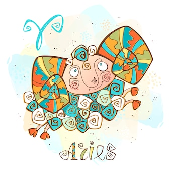 Children's horoscope illustration. zodiac for kids. aries sign