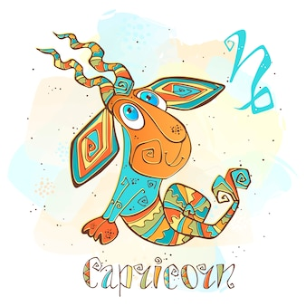 Children's horoscope illustration. zodiac for kids. capricorn sign