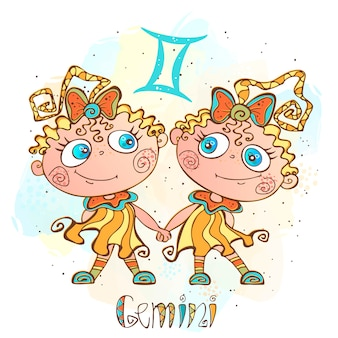 Children's horoscope illustration. zodiac for kids. gemini sign