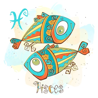 Children's horoscope illustration. zodiac for kids. pisces sign