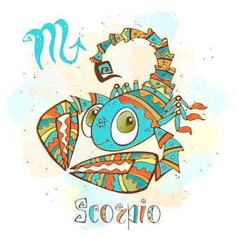 Children's horoscope illustration. zodiac for kids. scorpio sign