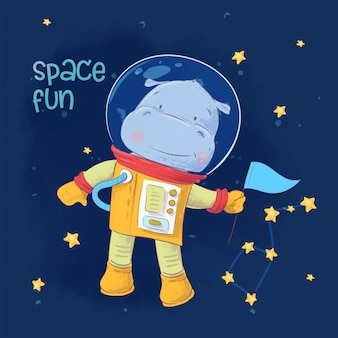 Children's illustration of cute astronaut hippopotamus in space with constellations and stars