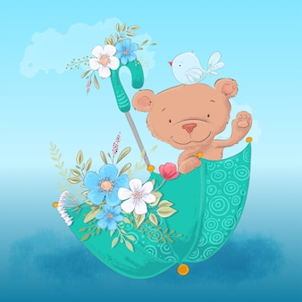 Children's illustration cute bear and a bird in an umbrella with flowers