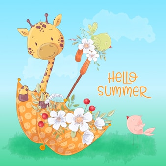 Children's illustration of a cute giraffe and birds in an umbrella with flowers