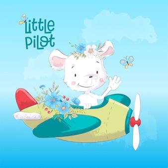 Children's illustration cute maus on the plane