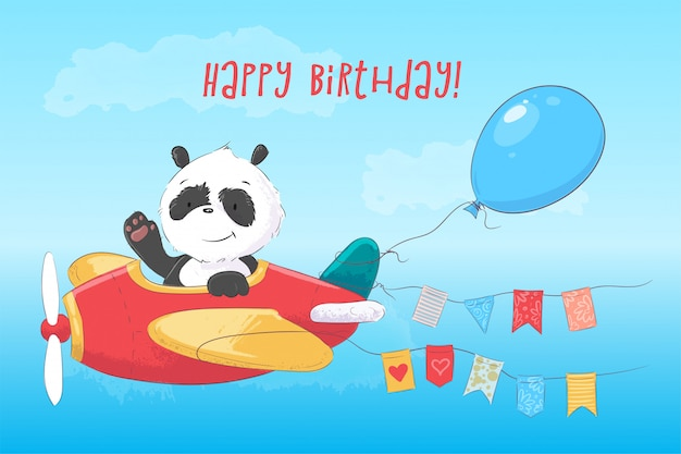 Children's illustration cute panda on the plane