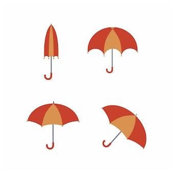 雨から傘の子供のイラストセット。秋の漫画のベクトル図です。要素のセット、アイコン、およびステッカー。幼稚園で描いた児童書のステッカー。