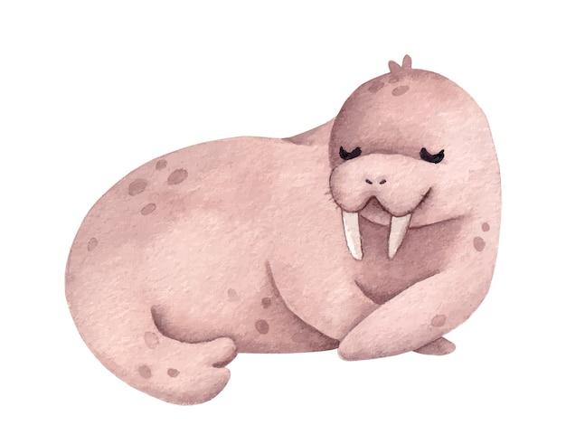 Детская иллюстрация с милым моржом на белом фоне