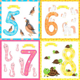 Children's learning to count and write.