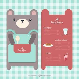 Modello di menu per bambini a forma di orso