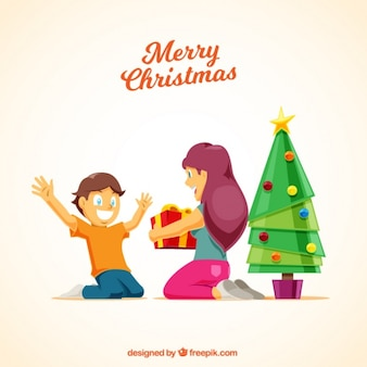 Children's opening gifts merry christmas background