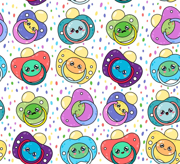 Children's pacifiers seamless pattern with cute kawaii faces. nipple newborn child. baby care equipment.