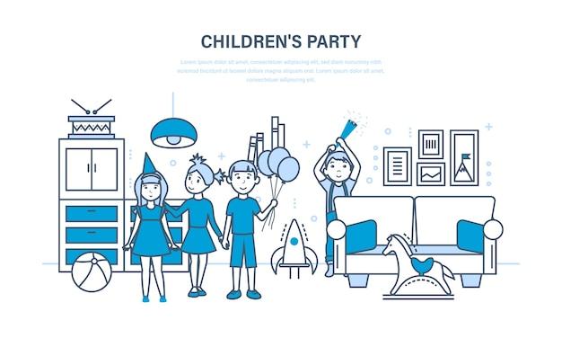 Детский праздник друзей, на фоне интерьера комнаты.