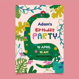 Children's party invitation and cute dinosaur