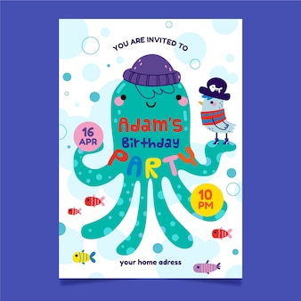 Children's party invitation and octopus with hat