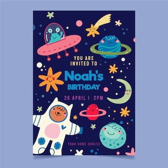 Children's party invitation and space planets