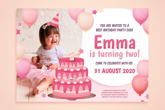 Children's party invitation and tiny girl