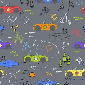귀여운 자동차가 있는 어린이 패턴. 재미있는 자동차. 어린이용 상품, 직물, 배경, 포장, 덮개 등을 위한 매끄러운 패턴으로 어린이 방을 장식하기 위한 벡터 손으로 그린 컬렉션입니다.