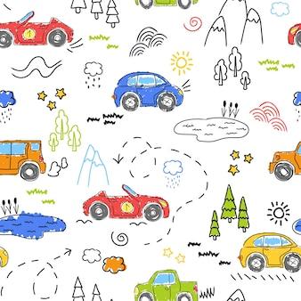かわいい車で子供のパターン。面白い車。ベクトル手描きイラスト。