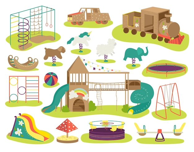 Children's playground  illustrations set. teeter board, swings, sandpit, sandbox and bench, carousel, children slide, playhouse. baby playinfield, play ground for kids, resort area.