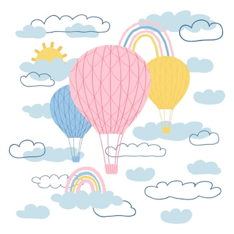 Children's poster with air balloons, sun, rainbow, clouds in cartoon style. cute concept for kids print. illustration for the design postcard, textiles, apparel. vector